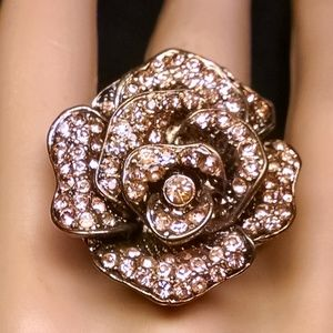 Elegant Fancy Rose Flower Rhinestones Sexy Ring